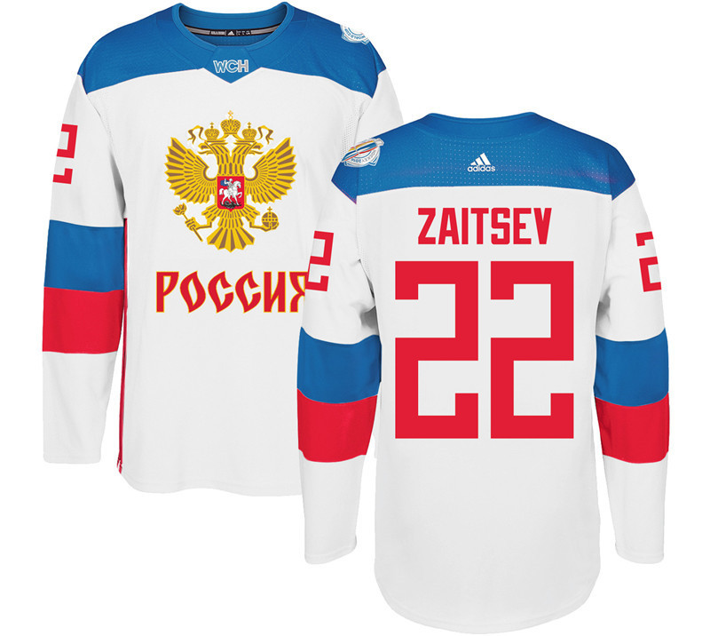 Men Russia Hockey 22 Zaitsev adidas white World Cup of Hockey 2016 Jersey