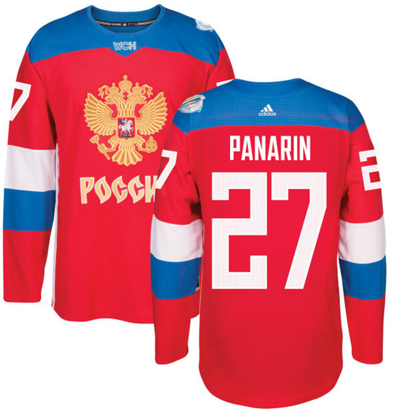 Men Russia Hockey 27 Panarin adidas red World Cup of Hockey 2016 Jersey