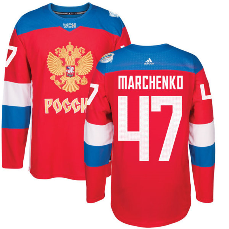 Men Russia Hockey 47 Marchenko adidas red World Cup of Hockey 2016 Jersey