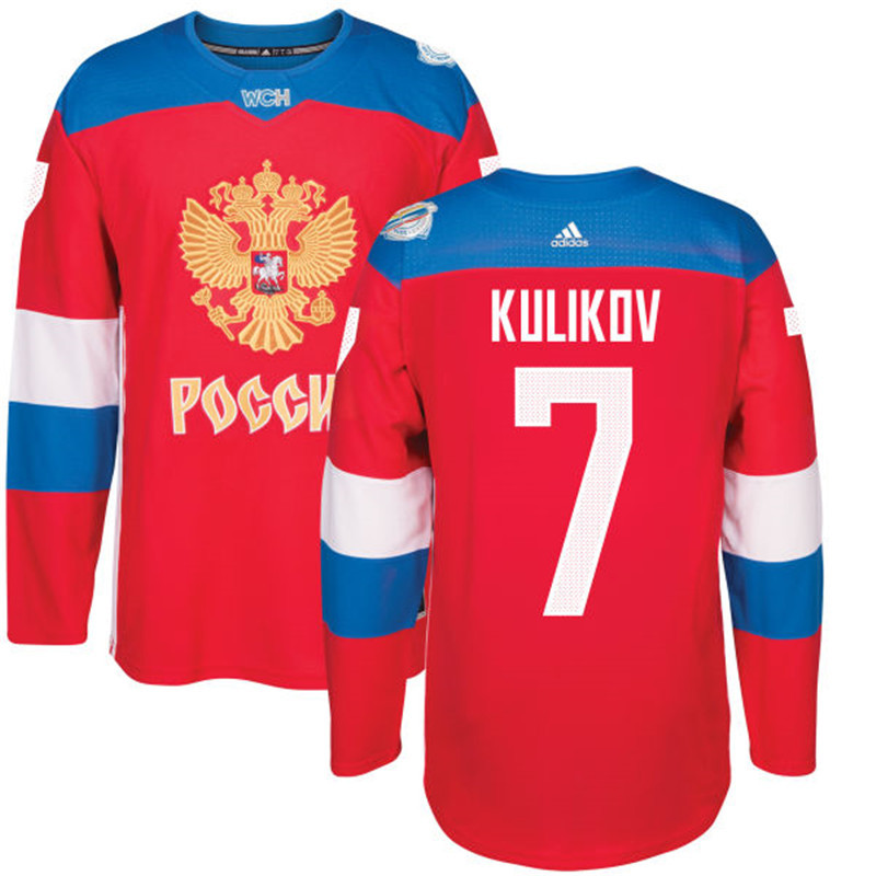 Men Russia Hockey 7 Kulikov adidas red World Cup of Hockey 2016 Jersey