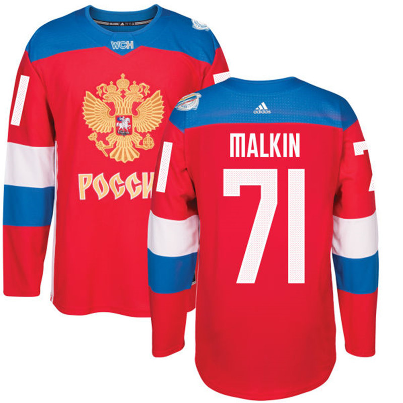 Men Russia Hockey 71 Malkin adidas red World Cup of Hockey 2016 Jersey