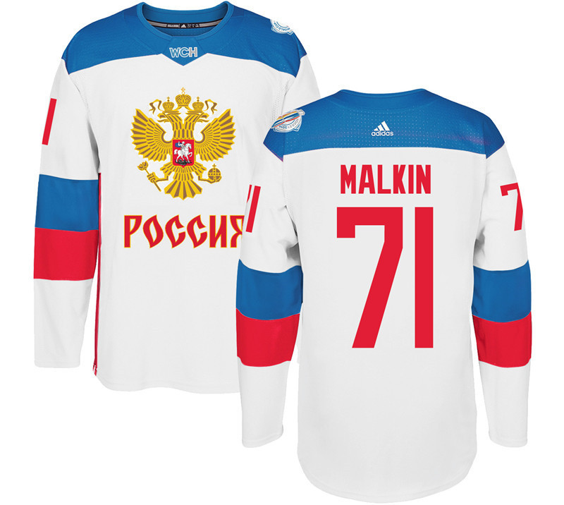 Men Russia Hockey 71 Malkin adidas white World Cup of Hockey 2016 Jersey