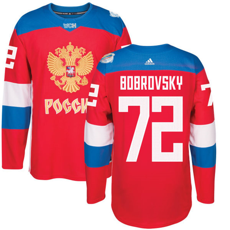 Men Russia Hockey 72 Bobrovsky adidas red World Cup of Hockey 2016 Jersey