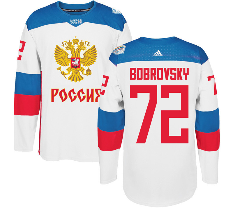 Men Russia Hockey 72 Bobrovsky adidas white World Cup of Hockey 2016 Jersey