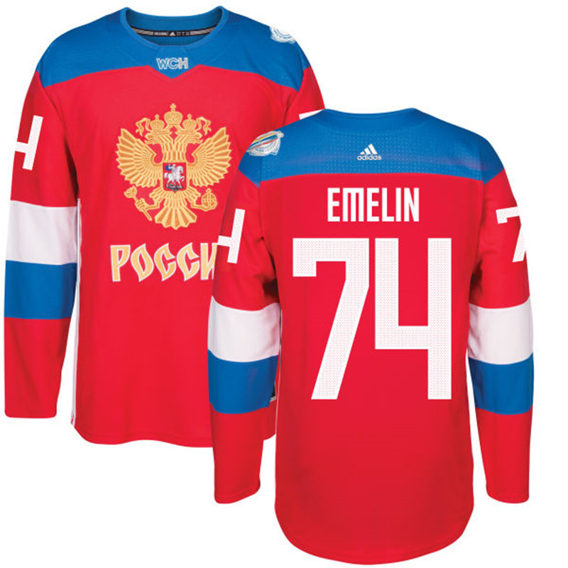 Men Russia Hockey 74 Emelin adidas red World Cup of Hockey 2016 Jersey