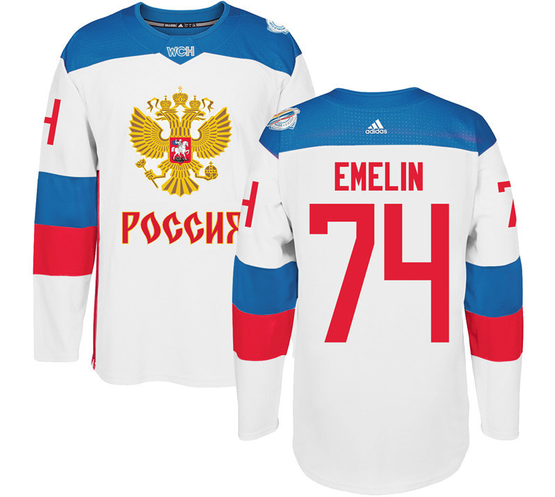 Men Russia Hockey 74 Emelin adidas white World Cup of Hockey 2016 Jersey