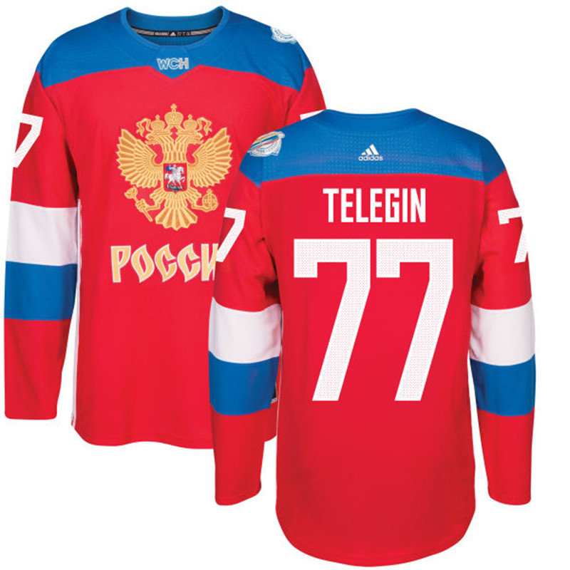 Men Russia Hockey 77 Telegin adidas red World Cup of Hockey 2016 Jersey