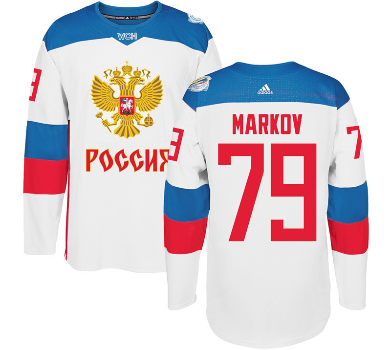 Men Russia Hockey 79 Markov adidas white World Cup of Hockey 2016 Jersey