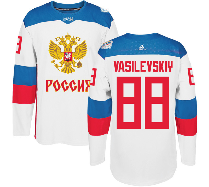 Men Russia Hockey 88 Vasilevskiy adidas white World Cup of Hockey 2016 Jersey