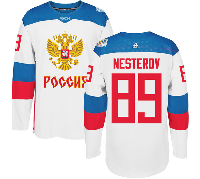 Men Russia Hockey 89 Nesterov adidas white World Cup of Hockey 2016 Jersey