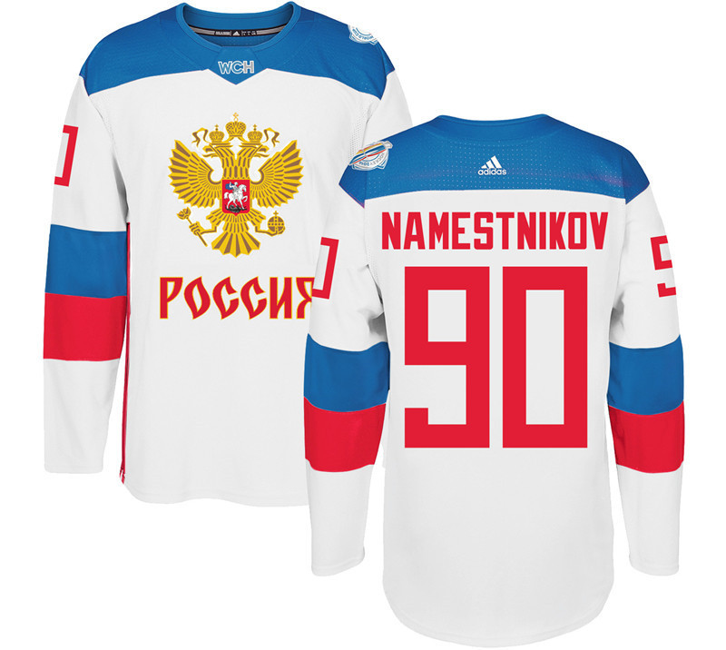 Men Russia Hockey 90 Namestnikov adidas white World Cup of Hockey 2016 Jersey