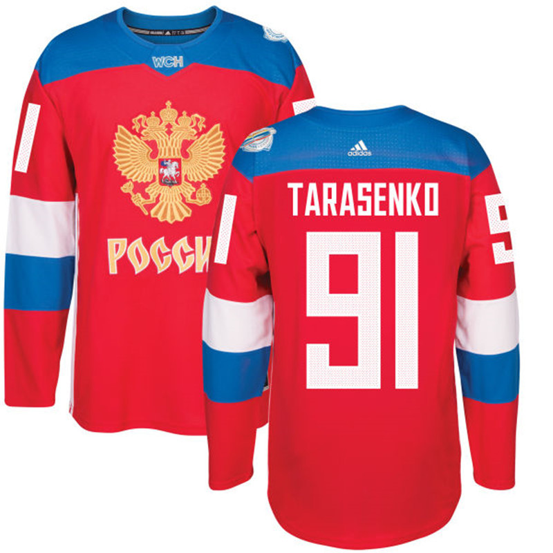 Men Russia Hockey 91 Tarasenko adidas red World Cup of Hockey 2016 Jersey
