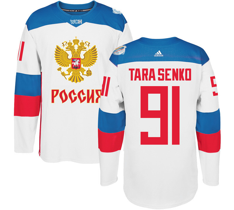 Men Russia Hockey 91 Tarasenko adidas white World Cup of Hockey 2016 Jersey