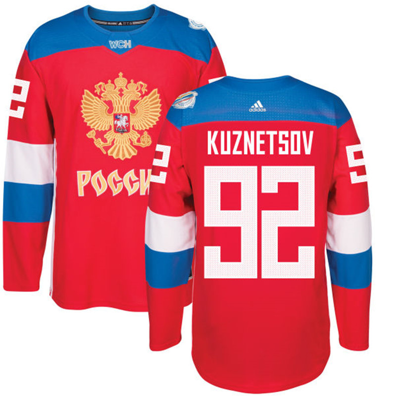 Men Russia Hockey 92 Kuznetsov adidas red World Cup of Hockey 2016 Jersey