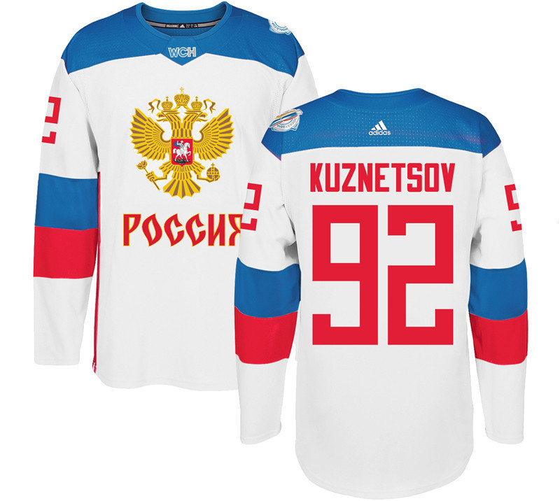 Men Russia Hockey 92 Kuznetsov adidas white World Cup of Hockey 2016 Jersey