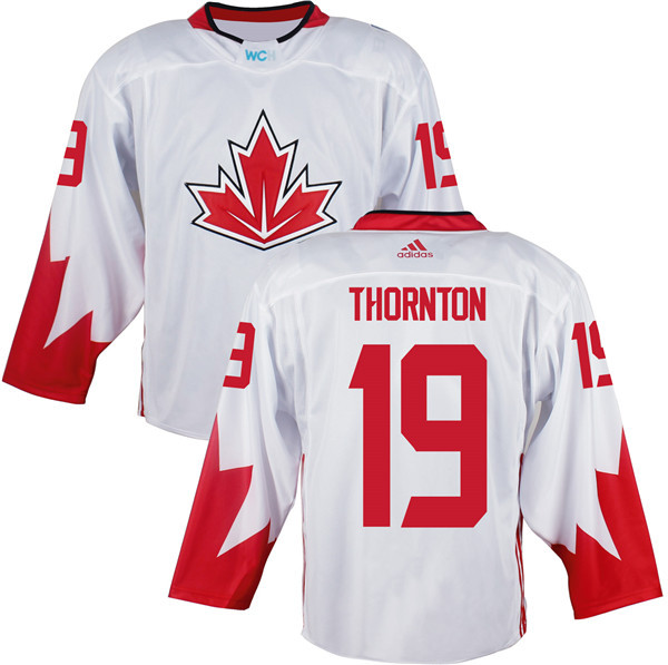 Mens Team Canada 19 Joe Thornton 2016 World Cup of Hockey Olympics Game White Jerseys