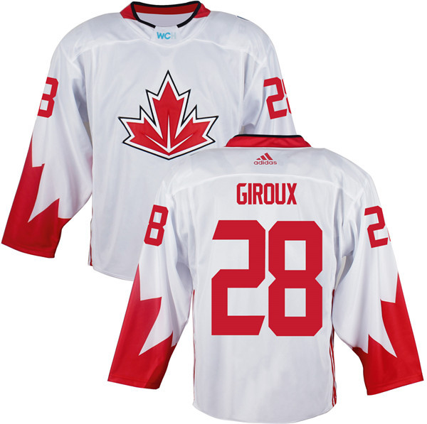 Mens Team Canada 28 Claude Giroux 2016 World Cup of Hockey Olympics Game White Jerseys