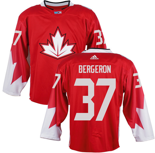 Mens Team Canada 37 Patrice Bergeron 2016 World Cup of Hockey Olympics Game Red Jerseys