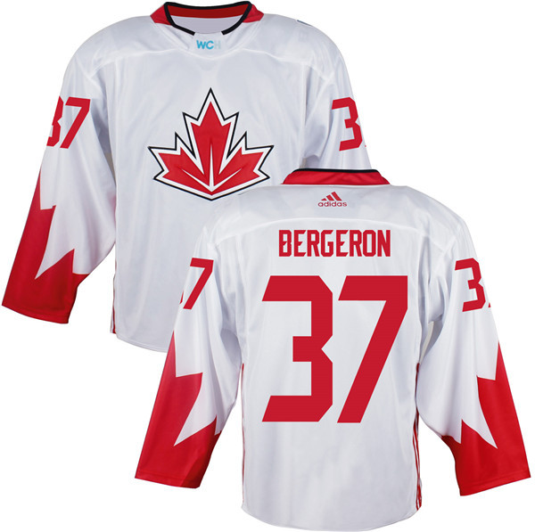 Mens Team Canada 37 Patrice Bergeron 2016 World Cup of Hockey Olympics Game White Jerseys