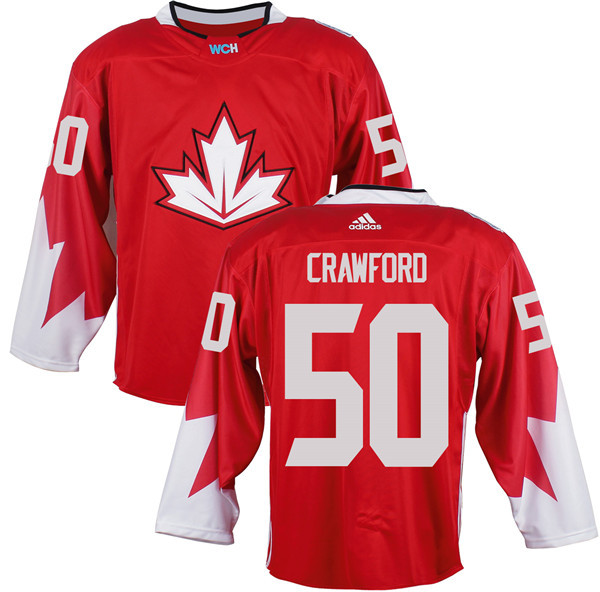 Mens Team Canada 50 Corey Crawford 2016 World Cup of Hockey Olympics Game Red Jerseys