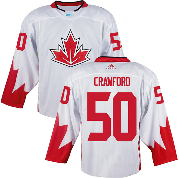 Mens Team Canada 50 Corey Crawford 2016 World Cup of Hockey Olympics Game White Jerseys