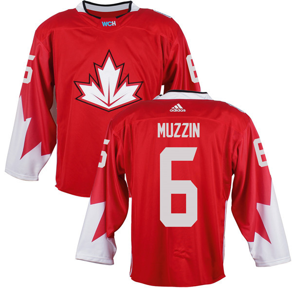 Mens Team Canada 6 Jake Muzzin 2016 World Cup of Hockey Olympics Game Red Jerseys