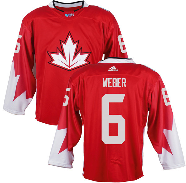 Mens Team Canada 6 Shea Weber 2016 World Cup of Hockey Olympics Game Red Jerseys
