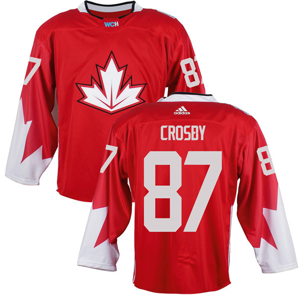 Mens Team Canada 87 Sidney Crosby 2016 World Cup of Hockey Olympics Game Red Jerseys