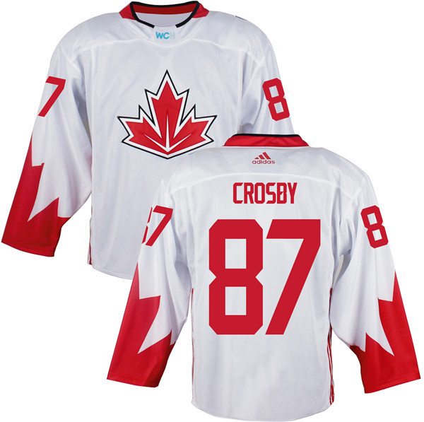 Mens Team Canada 87 Sidney Crosby 2016 World Cup of Hockey Olympics Game White Jerseys