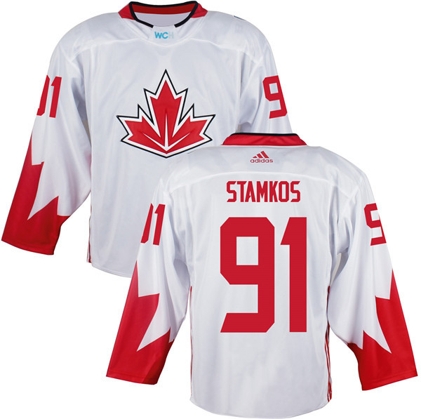 Mens Team Canada 91 Steven Stamkos 2016 World Cup of Hockey Olympics Game White Jerseys
