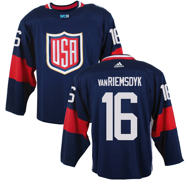Mens Team USA 16 James van Riemsdyk 2016 World Cup of Hockey Olympics Game Navy Blue Jerseys