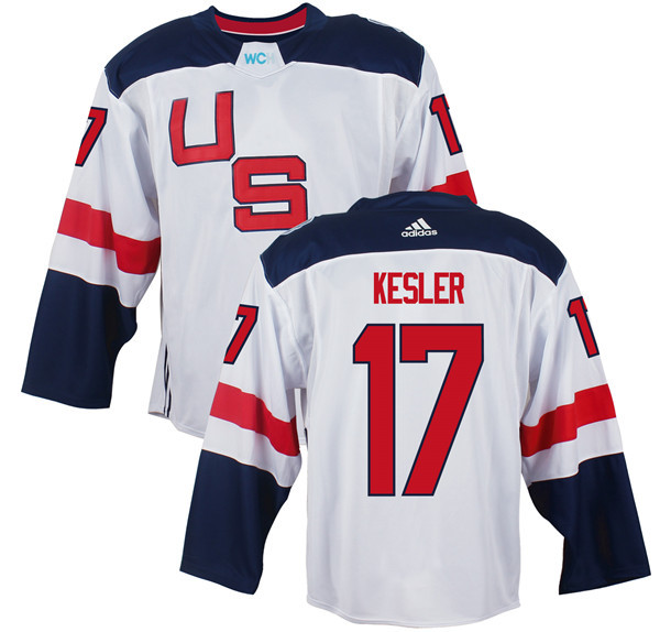 Mens Team USA 17 Ryan Kesler 2016 World Cup of Hockey Olympics Game White Jerseys