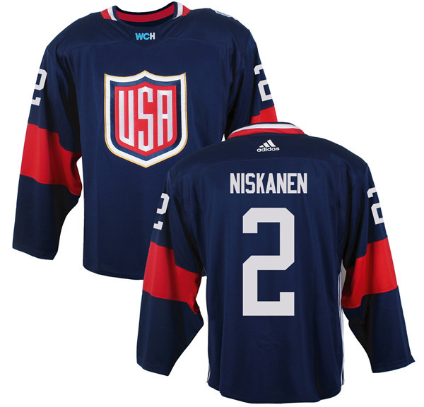 Mens Team USA 2 Matt Niskanen 2016 World Cup of Hockey Olympics Game Navy Blue Jerseys
