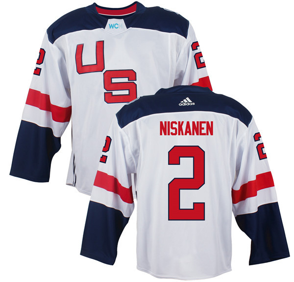 Mens Team USA 2 Matt Niskanen 2016 World Cup of Hockey Olympics Game White Jerseys