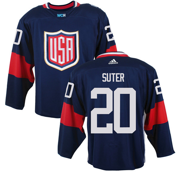 Mens Team USA 20 Ryan Suter 2016 World Cup of Hockey Olympics Game Navy Blue Jerseys