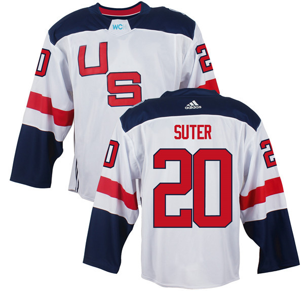 Mens Team USA 20 Ryan Suter 2016 World Cup of Hockey Olympics Game White Jerseys