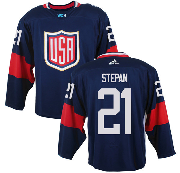Mens Team USA 21 Derek Stepan 2016 World Cup of Hockey Olympics Game Navy Blue Jerseys
