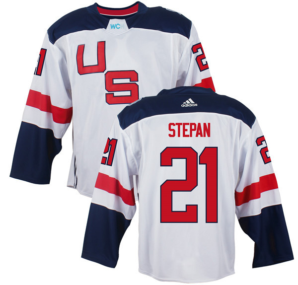 Mens Team USA 21 Derek Stepan 2016 World Cup of Hockey Olympics Game White Jerseys