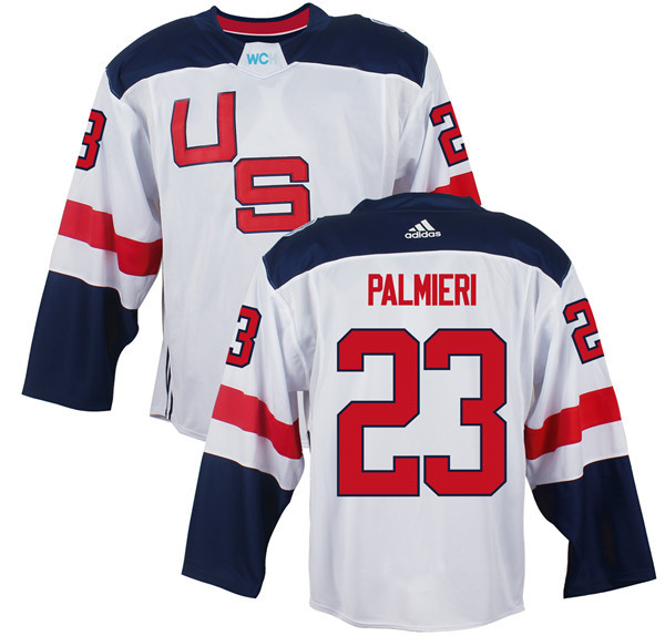 Mens Team USA 23 Kyle Palmieri 2016 World Cup of Hockey Olympics Game White Jerseys