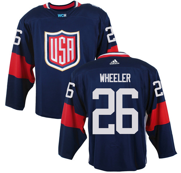 Mens Team USA 26 Blake Wheeler 2016 World Cup of Hockey Olympics Game Navy Blue Jerseys