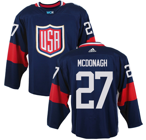 Mens Team USA 27 Ryan McDonagh 2016 World Cup of Hockey Olympics Game Navy Blue Jerseys