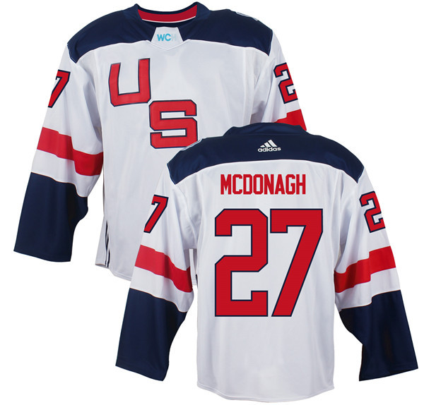 Mens Team USA 27 Ryan McDonagh 2016 World Cup of Hockey Olympics Game White Jerseys