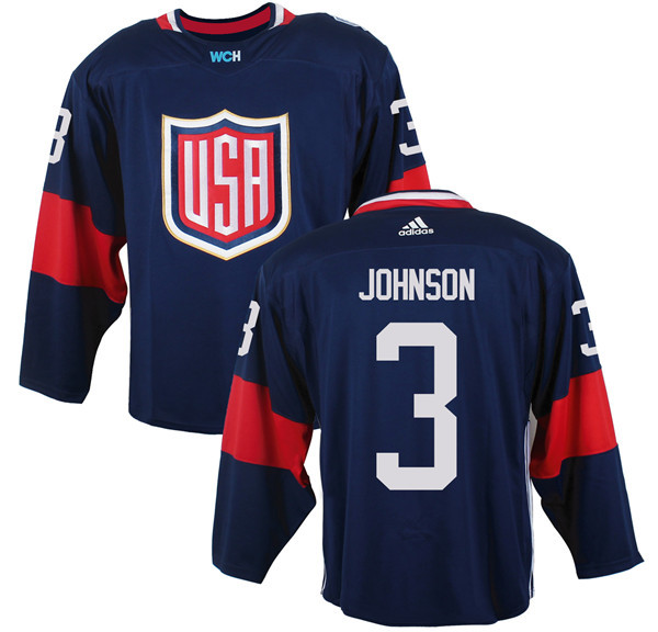 Mens Team USA 3 Jack Johnson 2016 World Cup of Hockey Olympics Game Navy Blue Jerseys