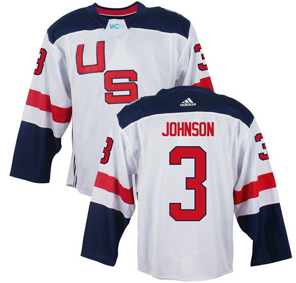 Mens Team USA 3 Jack Johnson 2016 World Cup of Hockey Olympics Game White Jerseys