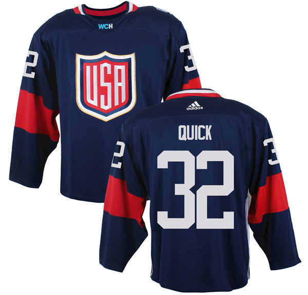 Mens Team USA 32 Jonathan Quick 2016 World Cup of Hockey Olympics Game Navy Blue Jerseys