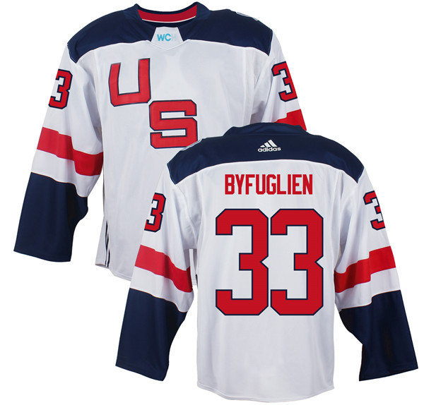 Mens Team USA 33 Dustin Byfuglien 2016 World Cup of Hockey Olympics Game White Jerseys