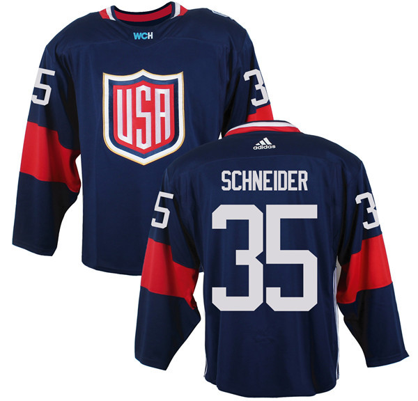 Mens Team USA 35 Cory Schneider 2016 World Cup of Hockey Olympics Game Navy Blue Jerseys