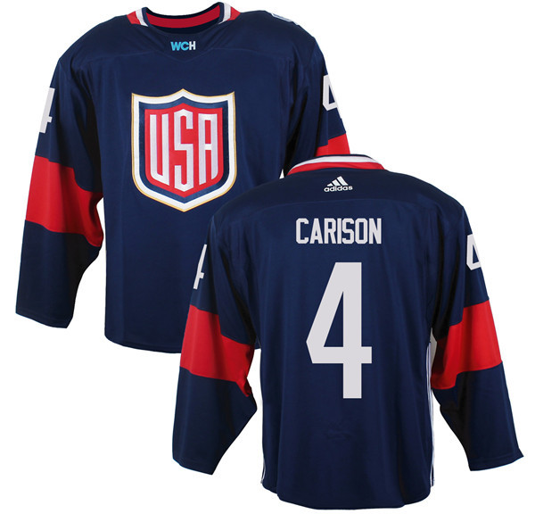 Mens Team USA 4 John Carlson 2016 World Cup of Hockey Olympics Game Navy Blue Jerseys