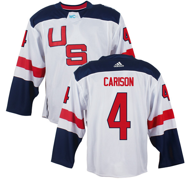 Mens Team USA 4 John Carlson 2016 World Cup of Hockey Olympics Game White Jerseys