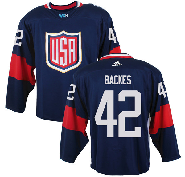 Mens Team USA 42 David Backes 2016 World Cup of Hockey Olympics Game Navy Blue Jerseys